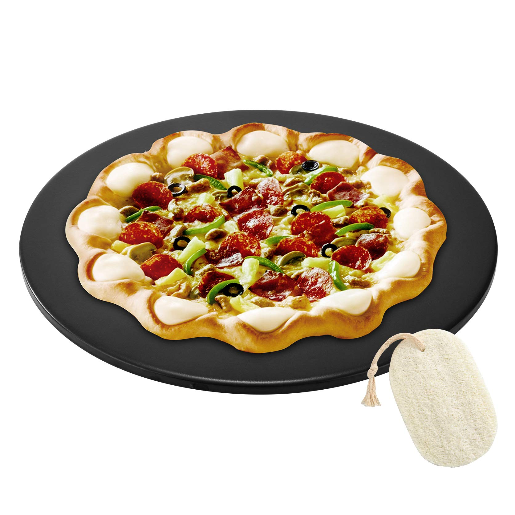 GOVOG Pizza Stone for Oven Grill Black Glaze BBQ Baking Stone Round Ceramic with Cutter Handle Set Non-Stain, 15X2/5''