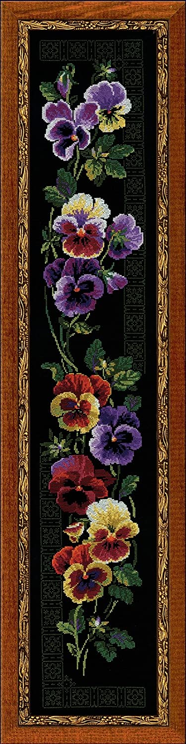 RIOLIS PREMIUM 100//011 Pansy 7/¾ x 41/¼ 14 Count 18 Colors Counted Cross Stitch Kit