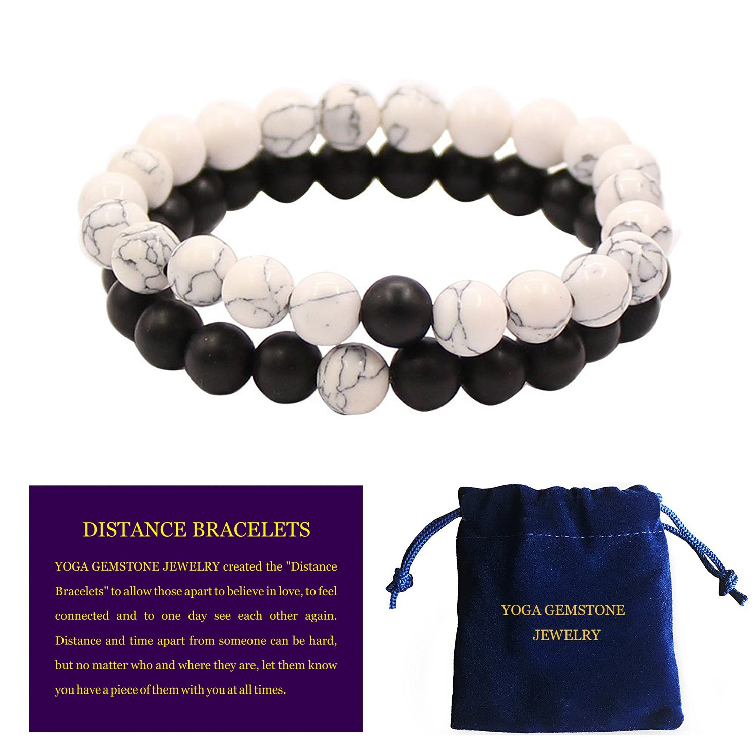 Yoga Gemstone Jewelry Distance Bracelets with Jewelry Bag & Meaning Card | Strong Elastic | Friendship Relationship Couples His Hers | Black Agate Onyx White Howlite CZ Crown Stretch Bracelet UK_B07D9XZ5Q7