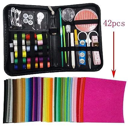 Fieltro en piezas de colores y kit de costura: 42 piezas de fieltro acrílico, suave + 1 Kit de costura en estuche con cremallera