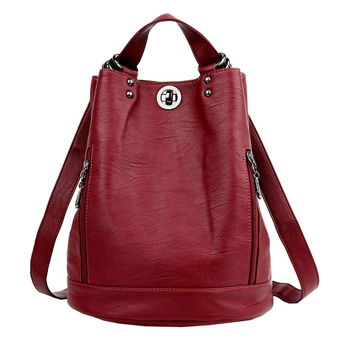 Red One Size LAIDAYE Ladies Shoulder Bag Leisure Travel Soft Leather Backpack Messenger Bag Ladies Ladies Shoulder Bag