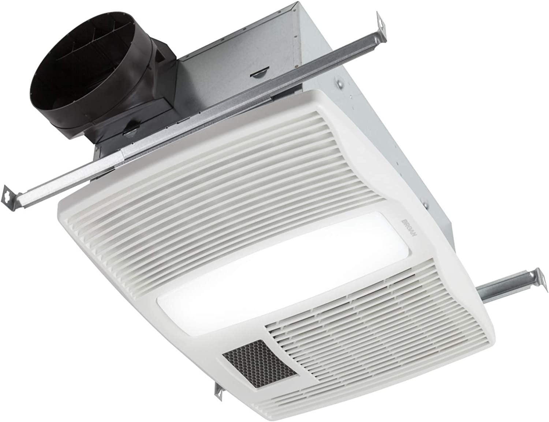 Broan Nutone Qtx110hl Very Quiet Ceiling Heater Fan And Light Combo For Bathroom And Home 0 9 Sones 1500 Watt Heater 60 Watt Incandescent Light 110 Cfm White Built In Household Ventilation Fans Amazon Com