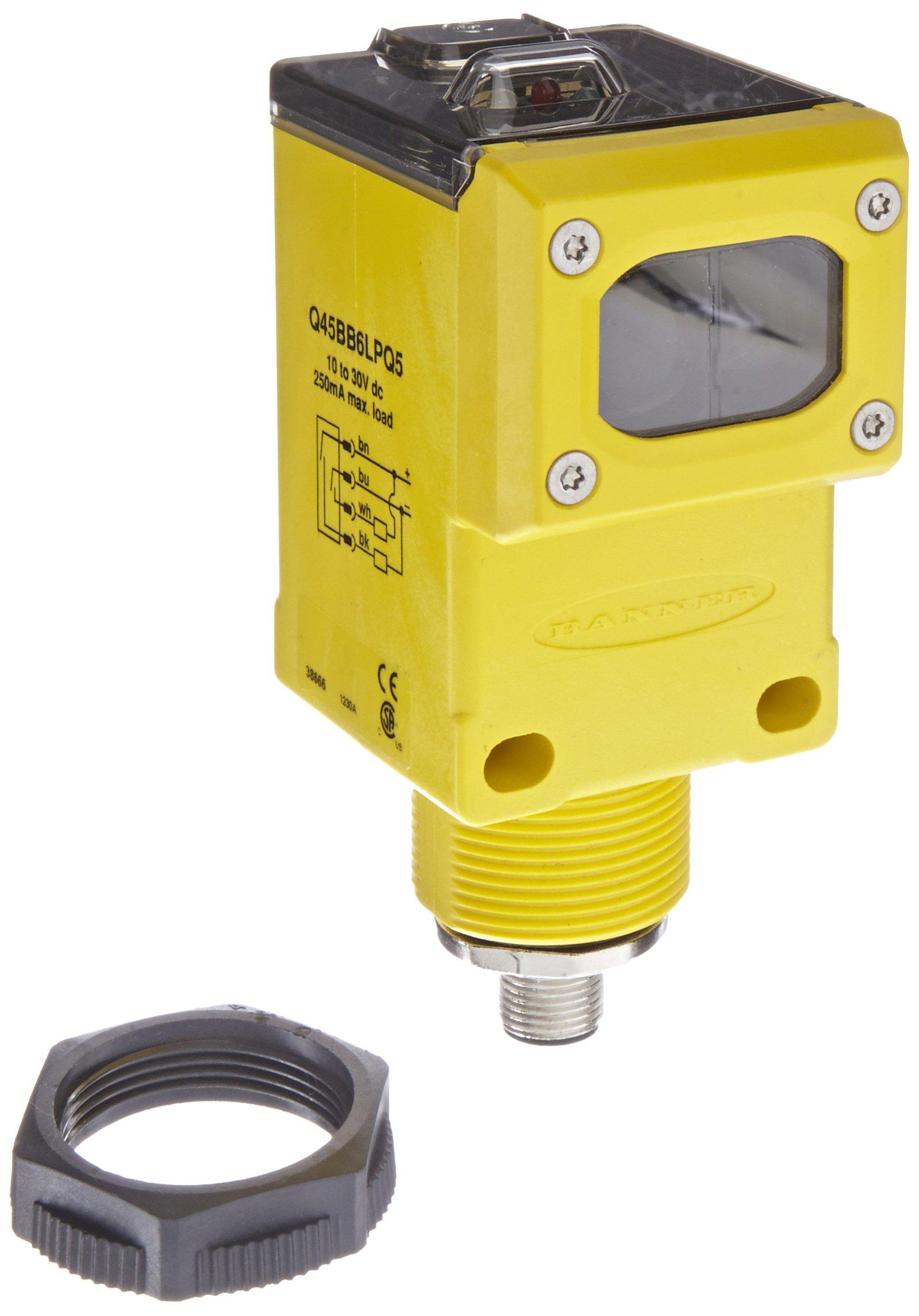Banner Q45BB6LPQ5 Photoelectric Sensor, Polarized-Retroreflective Sensing Mode, 4-Pin Euro-Style QD Connector, M30 Threaded Mount, Visible Red LED, 10-30 VDC Supply Voltage, Bipolar (PNP and NPN) Output, 6 m Sensing Range