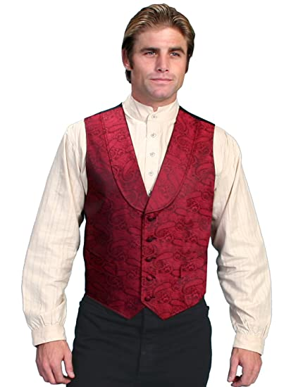Victorian Men's Vests and Waistcoats Paisley Print Round Collar Vest Big And Tall  AT vintagedancer.com