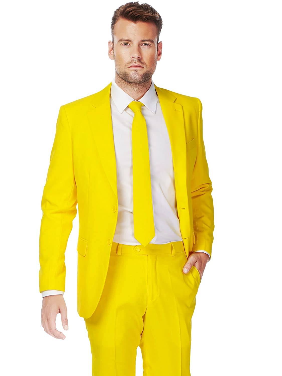 OppoSuits Yellow Fellow Solid Yellow Suit For Men Coming With Pants, Jacket and Tie - 100% Money Back Guarantee Generique OSUI-0026-EU48