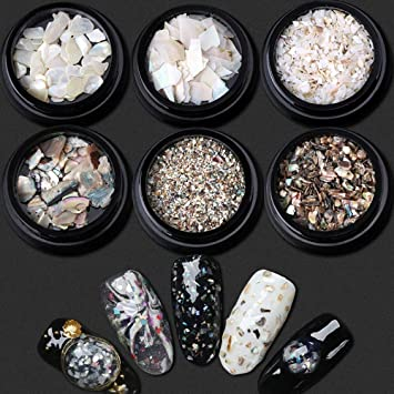 Amazon Com 7 Pcs Set Natural Pearl Light Nail Seashell Slices
