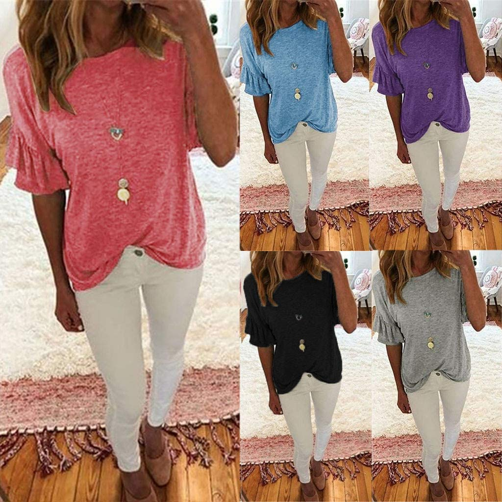 Plus Size Retro V Neck T Shirts Short Sleeve Womens Casual Boho Style Printed Tees Loose Summer Tops Pocciol