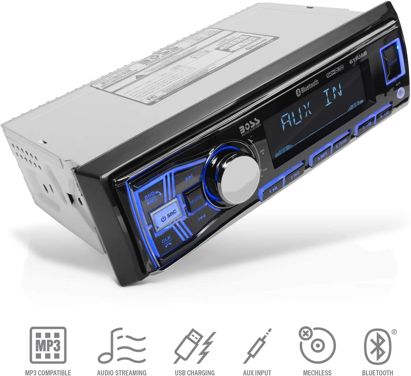 BOSS Audio Systems 611UAB Multimedia Car Stereo - Single Din, Bluetooth Audio and Hands-Free Calling, Built-in Microphone, MP3 Player, No CD/DVD Player, USB Port, AUX Input, AM/FM Radio Receiver