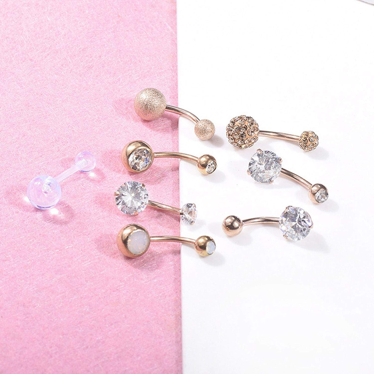 cengXY160h 8 Pcs//Set Multicolor Crystal Steel Navel Rings Belly Button Ring Bar Body Piercing Jewelry