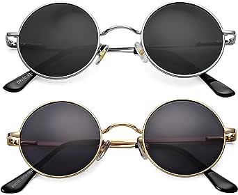 Braylenz 2 Pack Trendy Small Round Polarized Sunglasses for Women Men, Retro John Lennon Hippie Style Shades Glasses