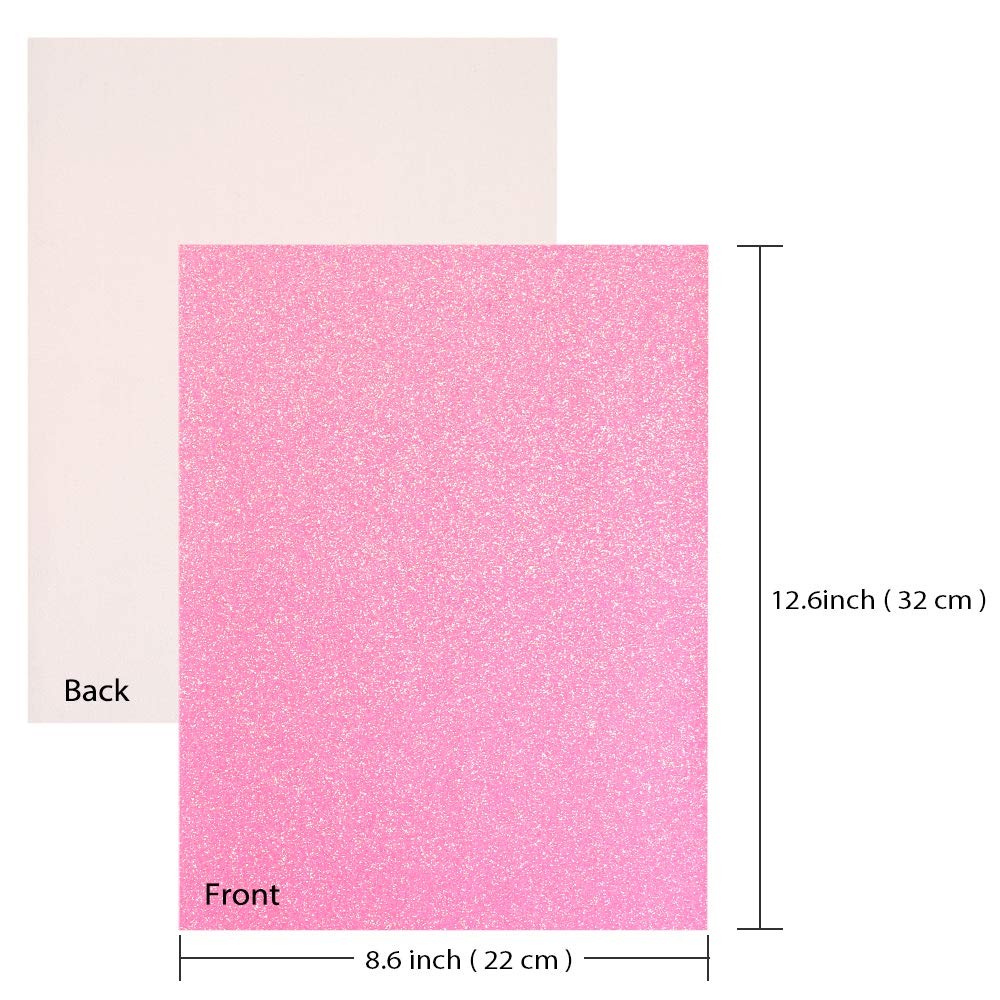 Caydo 30 Colors Shiny Superfine Glitter Fabric, PU Leather Fabric Sheets Canvas Back for Craft DIY, Hair Clips Making, Hat Making 12.6 x 8.6 Inch (32 x 22 cm) by Caydo (Image #4)