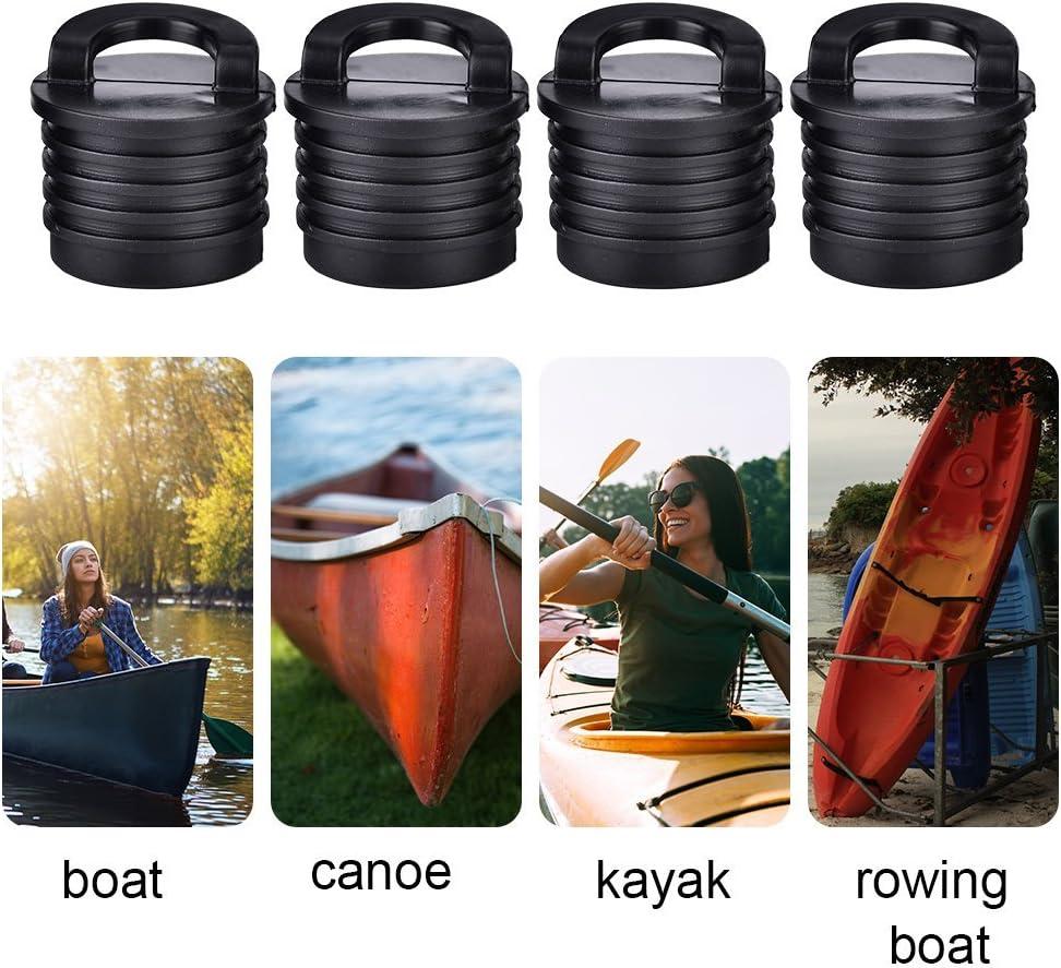 Alomejor 4/pcs//lot Universel Bateau Bouchon Plastique Durable Marine pour Kayak cano/ë Bateau Canot Bouchon Bouchons Noir