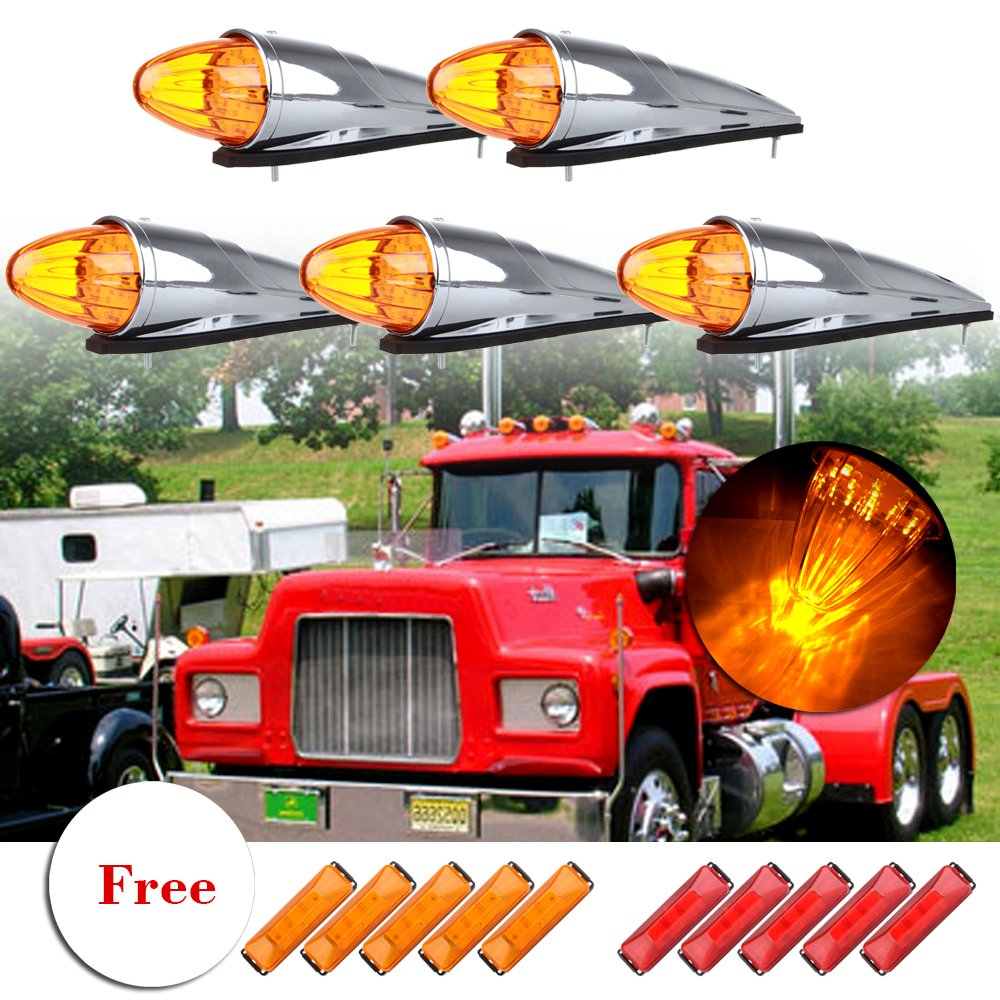 Cab Marker Lights 5Pack Amber 17 LED Top Roof Light Chrome Clearance Running Light Assembly Replacement fit for Heavy Duty Trucks Freightliner 4pcs Clearance Light Red/Yllow Side Marker Lamp Kit cciyu 816179-5210-1626352461