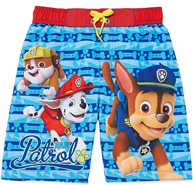 345ebb2e4a117 Image Unavailable. Image not available for. Color: PAW Patrol Boys Size 5  Big Pups Swim Swimming Trunks Shorts Marshall Chase & Rubble Cute