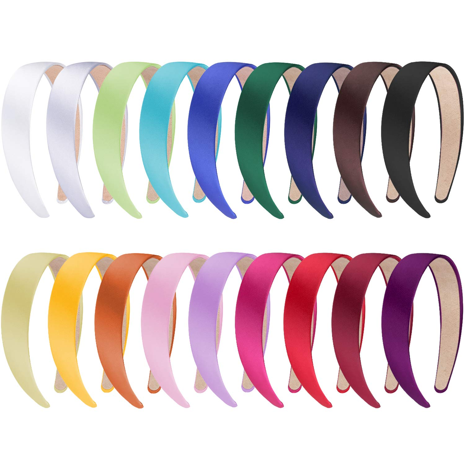 18 Pieces Satin Headbands 1 Inch Wide Non-slip Headband Colourful DIY Headbands for Women and girls, 18 Colours