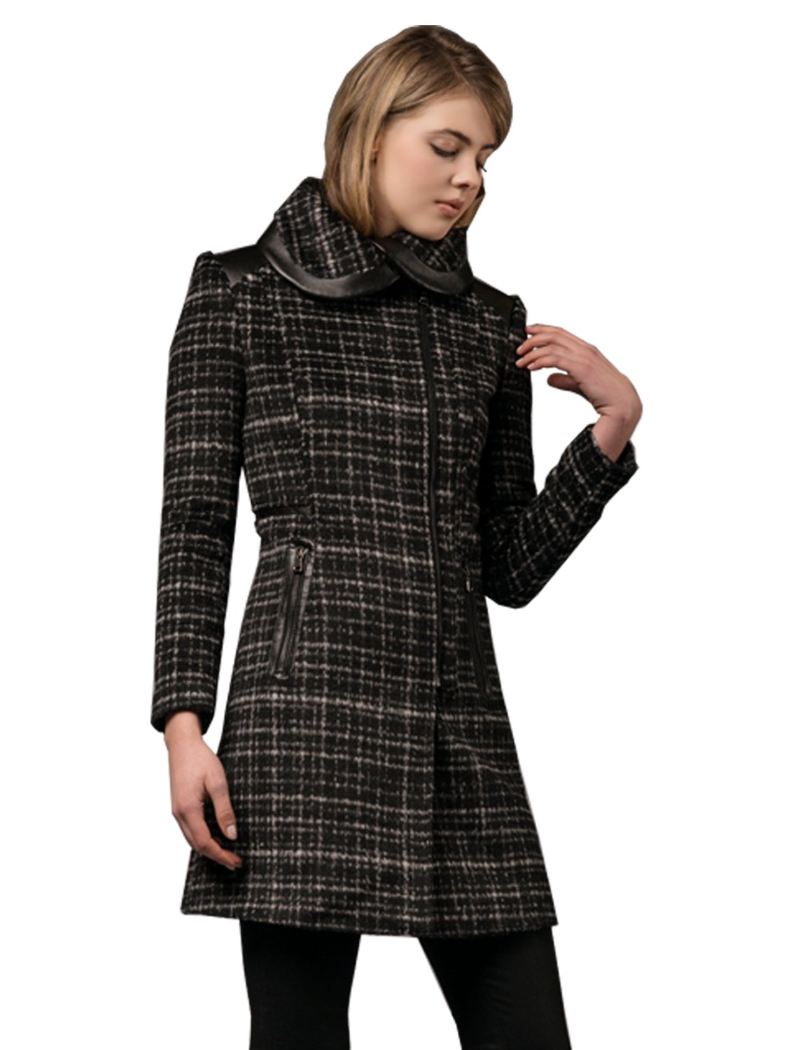 Zareen Elegant Wool Coat / Plaid (Large) by Zareen by BC24