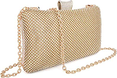 for Women Crossbody Shoulder Bucket Bags Prom Party Wedding Purses-Silver Selighting Rhinestones Crystal Clutch Evening Bags