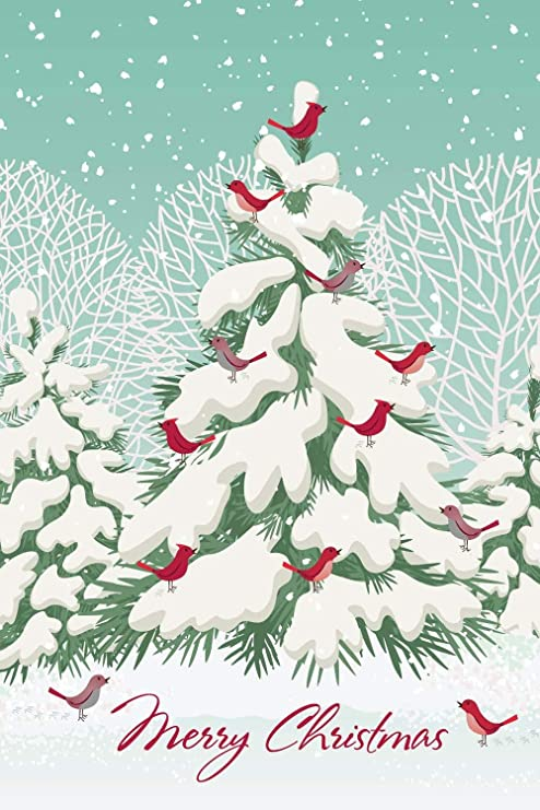 Christmas Tree Cards Designs.Amazon Com Boxed Christmas Cards Snowy Tree Bird Design 4