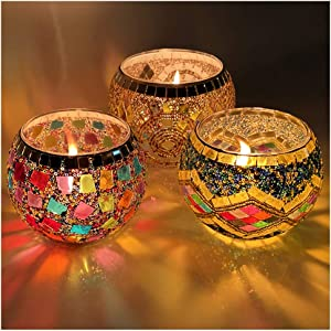 IIQ Glass Votive Candle Holders, LED Candle Lamps Holder for Votive Candles and Tealight Set of 3, Bowl Tea Night Light Holders Handmade Artwork Gifts for Home Decor/Party Decorations
