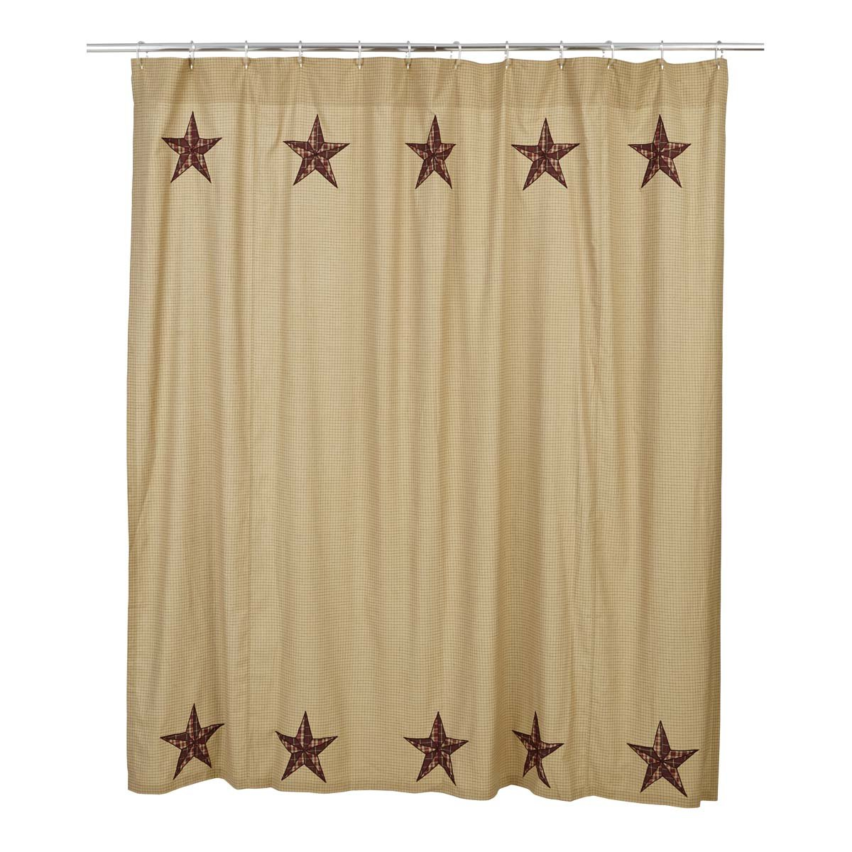 Amazon VHC Brands Landon Cotton Shower Curtain In Red And Tan Home Kitchen