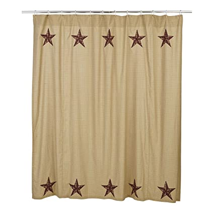 VHC Brands Landon Cotton Shower Curtain In Red And Tan