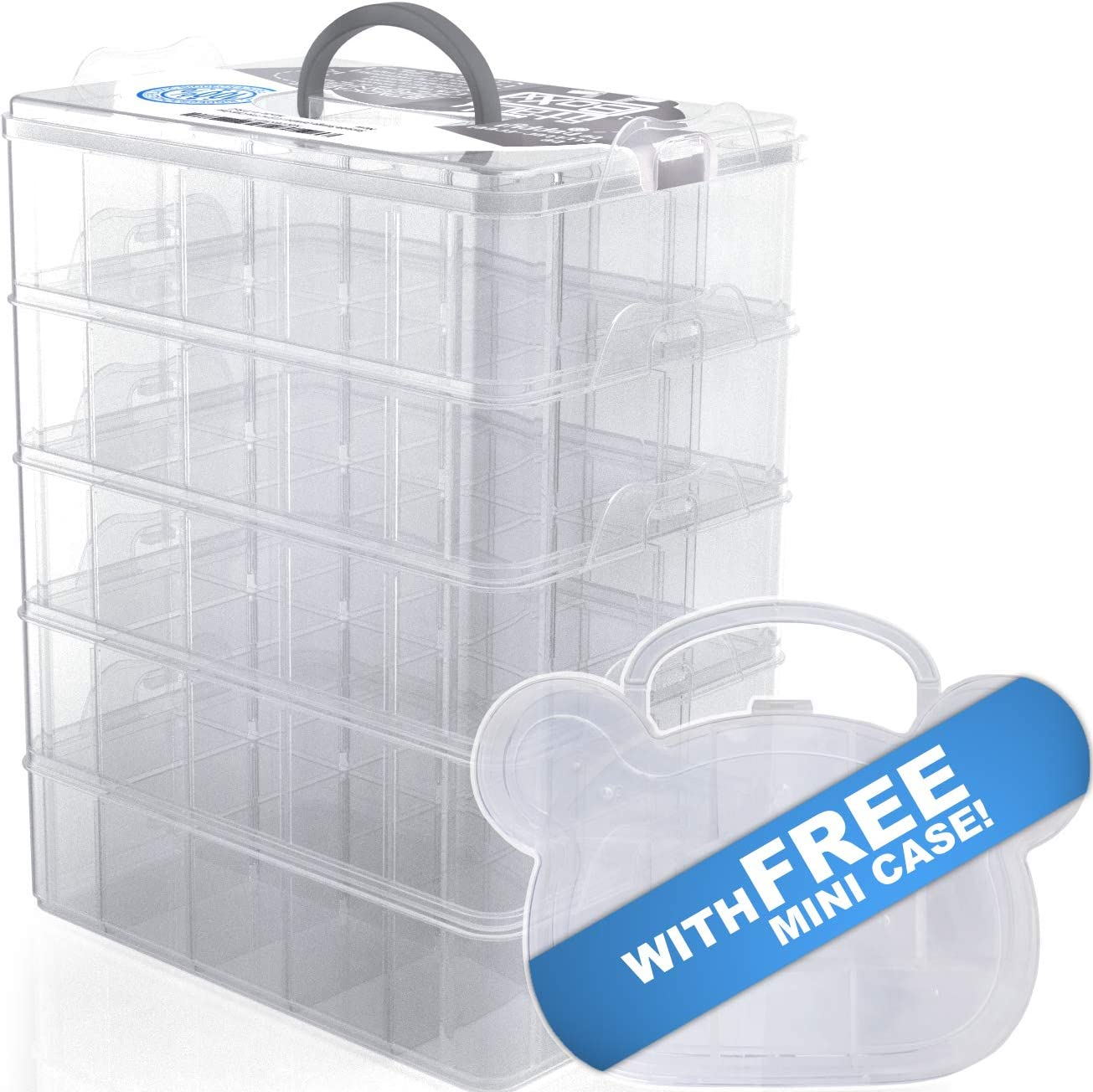 Stack Boxx Stackable Organizer and Storage Container (White) +Free Case | Be Clutter-Free, Be Happy! 5 Layers w/Handle -Perfect Solution for Kids Toys, Art Crafts, Jewelry, School & Office Supplies