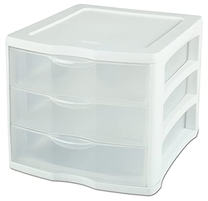 Amazon.com: Sterilite 17918004 3 Drawer Unit, White Frame with Clear ...
