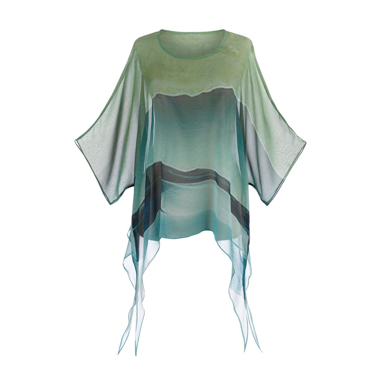 Cocoon House Women's Tunic Top - Sheer Silk Chiffon - 3/4 Length Kimono Sleeves Green & Blue - Large/XL