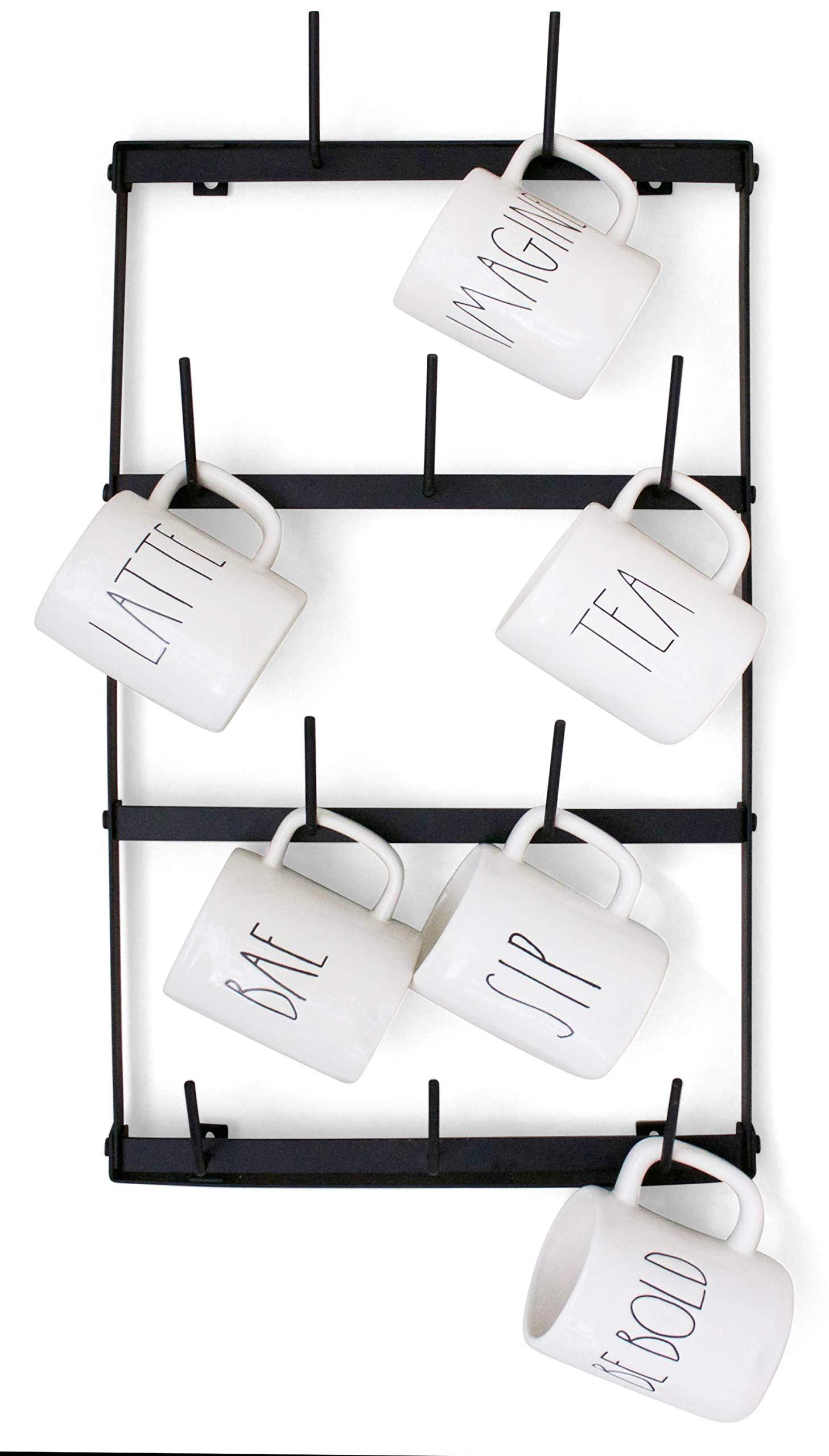 Claimed Corner Mini Wall Mounted Mug Rack - 4 Row Metal Storage Display Organizer For Coffee Mugs, Tea Cups, Mason Jars, and More.