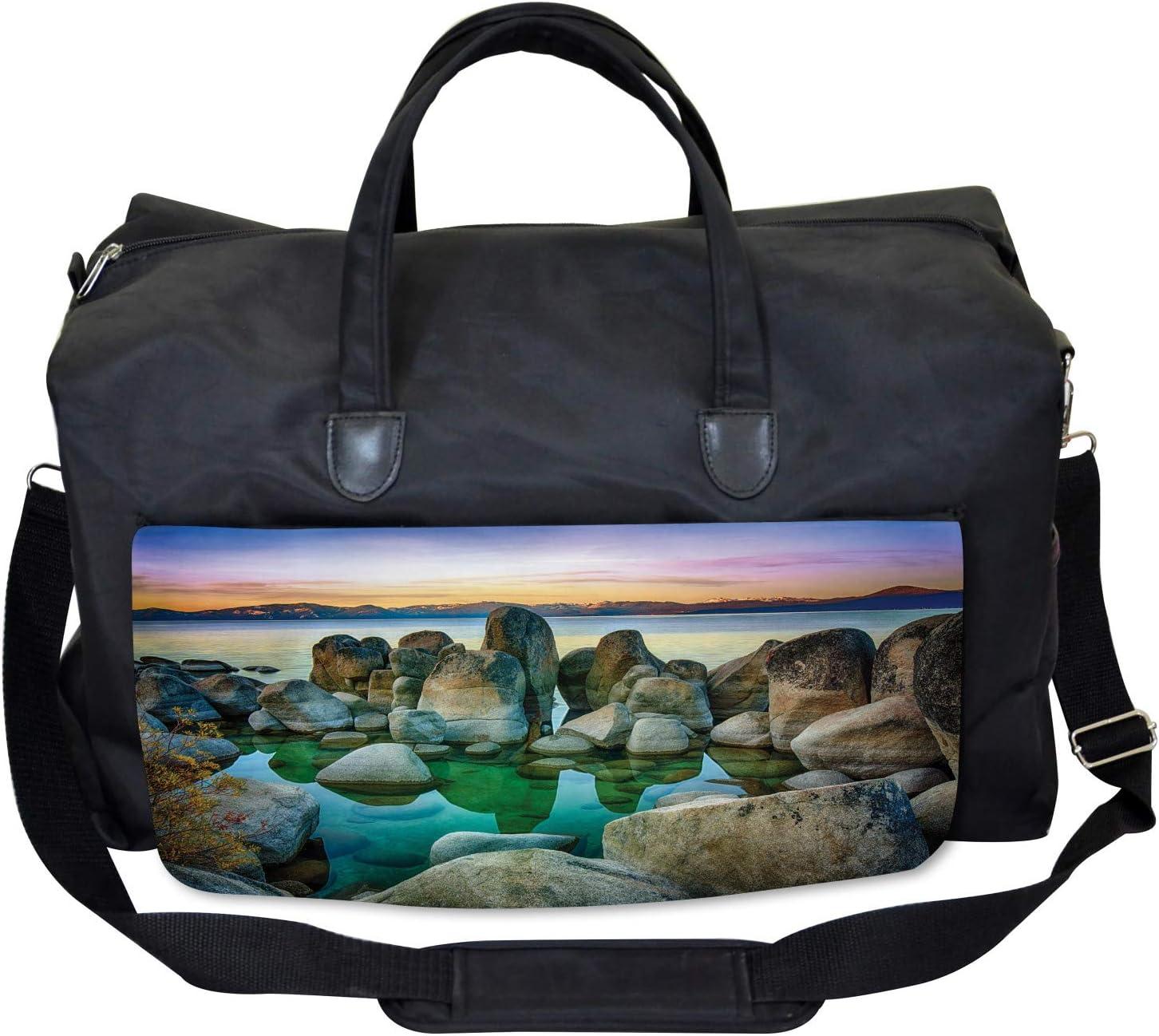 Ambesonne Nautical Gym Bag Large Weekender Carry-on Californian Coastline