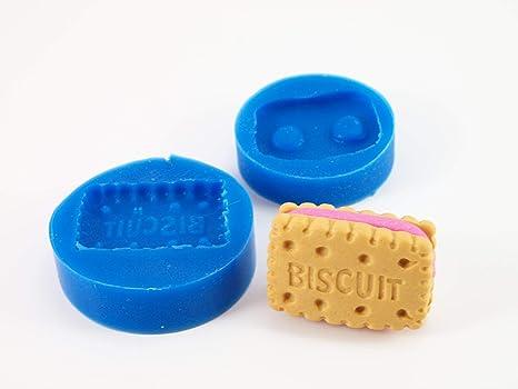 """Molde de silicona mini con forma de galleta y palabra """"Biscuit"""" para fimo"""