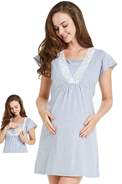 4a77e22ed94 MANNEW Maternity Dress Nursing Bra Pajamas Lace Stretchy Nightgown  Breastfeeding Sleepwear Cotton (Small) Gray