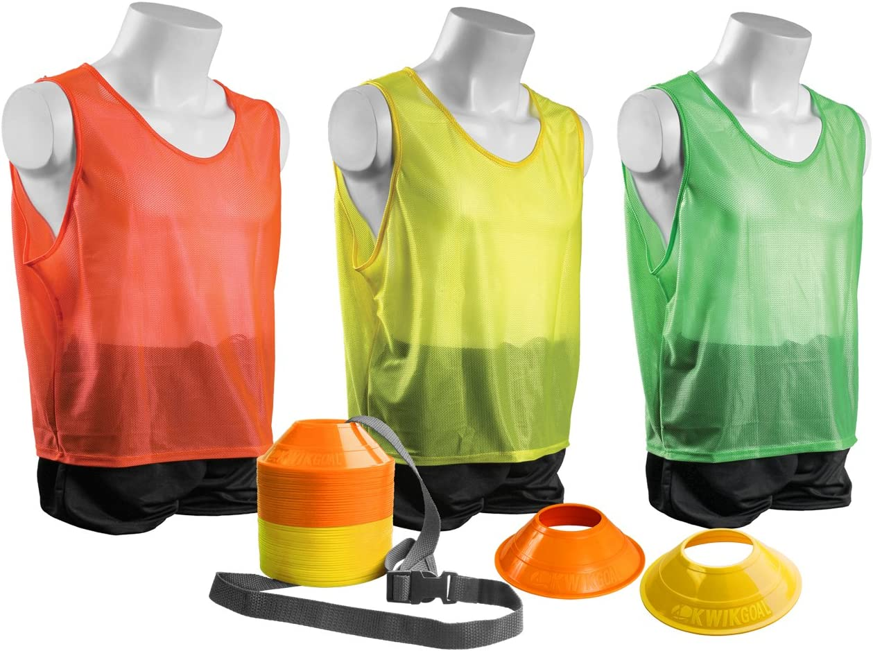Adult Kwik Goal Mini Cone and Vest Pack Yellow//Orange//Green 24 Vests//50 Cones