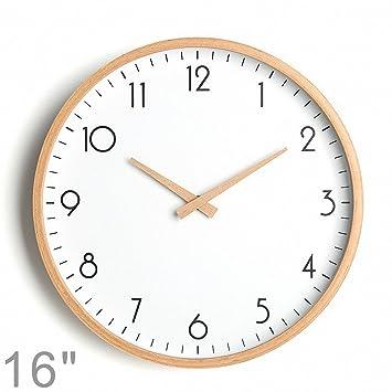 DXdoo Reloj de Pared de Madera Maciza Captura el Movimiento del Reloj Digital Reloj silencioso de Calibración del Puntero de Madera Espejo. Una Aguja de ...
