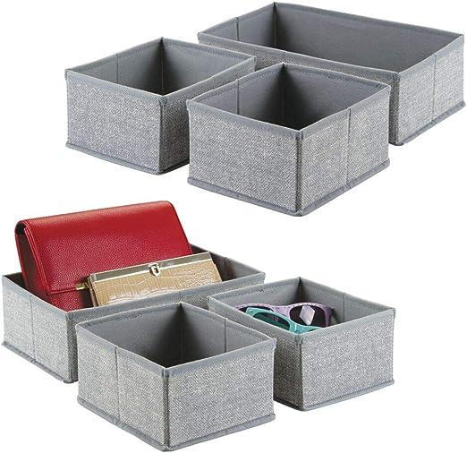 mDesign Juego de 6 cajas organizadoras de tela – Los organizadores para cajones y armarios ideales – Versátiles cestas de tela – Color: gris: Amazon.es: Hogar