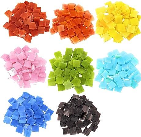 Mosaic Supplies for Home Decoration 0.5kg//1.1lb Peicees Mosaic Tiles Bulk for DIY Art Crafts Mosaics Glass Pieces White Black Multicolor