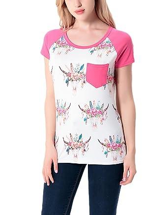 Blusas Mujer Verano Elegantes Sencillos Diario Slim Fit Estampado Flores Camisetas Basicas Manga Corta Cuello Redondo Moda Casual Tops Camiseta T Shirt: ...