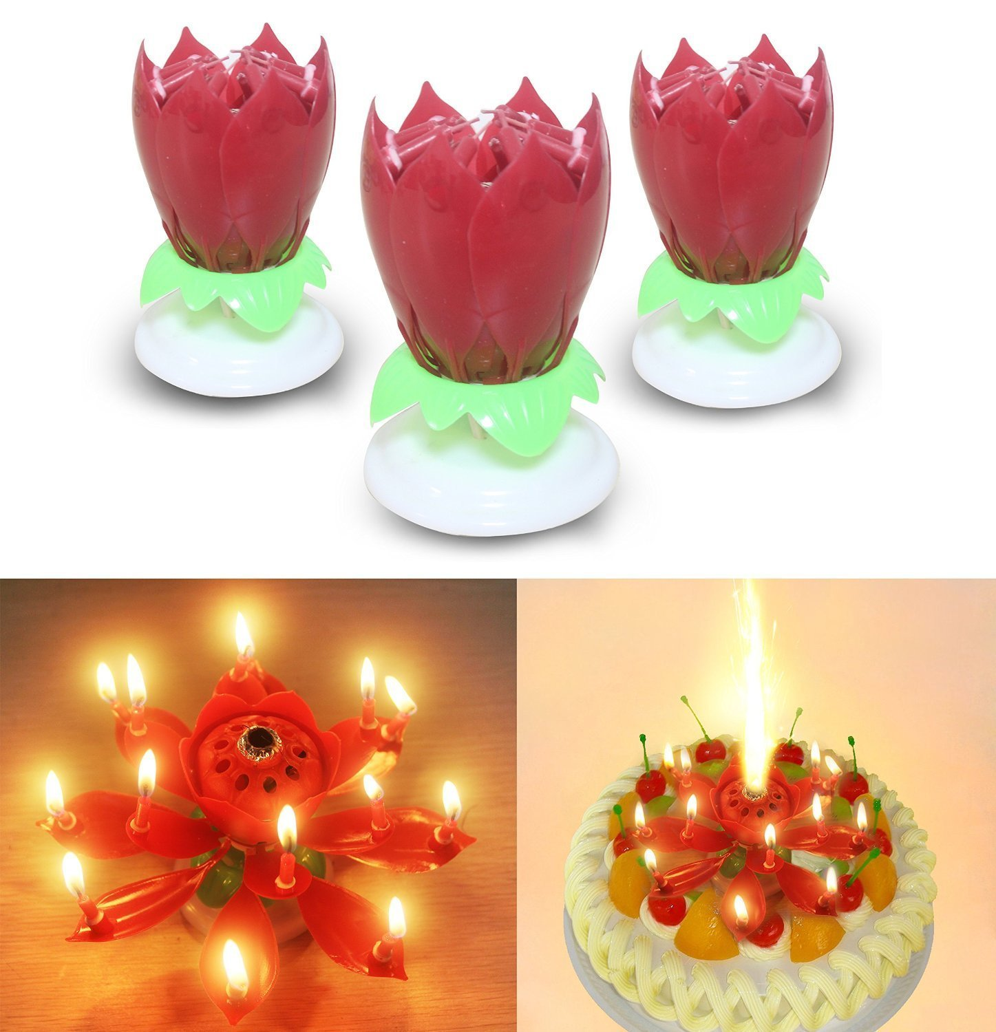 3PCS Set Romantic Music Birthday Candle Two Layers With 14 Small Candles Musical Lotus Rotating Happy Flower Red Amazonca Home