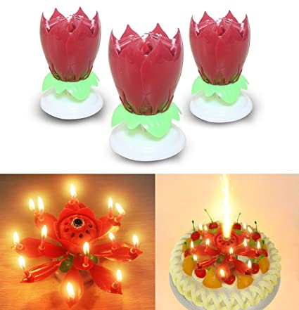 3PCS Set Romantic Music Birthday Candle Two Layers With 14 Small Candles Musical Lotus Rotating Happy