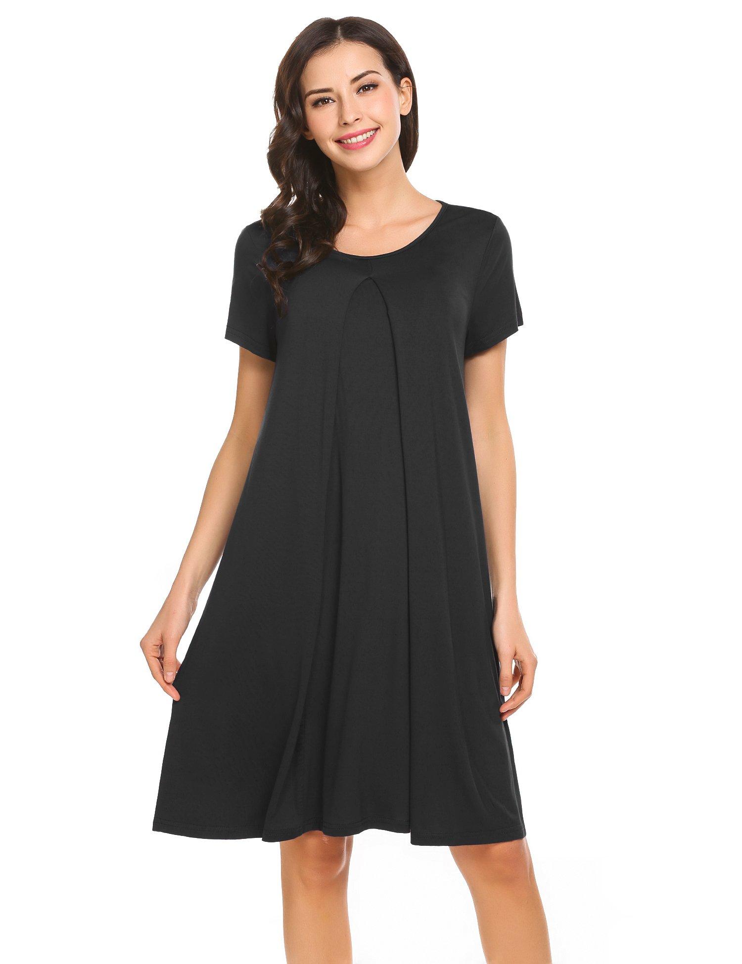 Ekouaer Womens Maternity Nursing Nightgown Round Neck Short Sleeve Sleep Dress, 8907black, X-Large