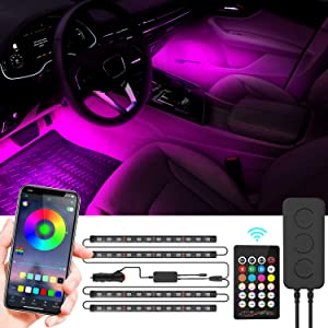 WEISIJI Car LED Strip Light,APP Controller Car Interior Lights,Multicolor Music Under Dash Lighting Kits Waterproof for iPhone Android Smart Phone,Car Charger Included,DC 12V