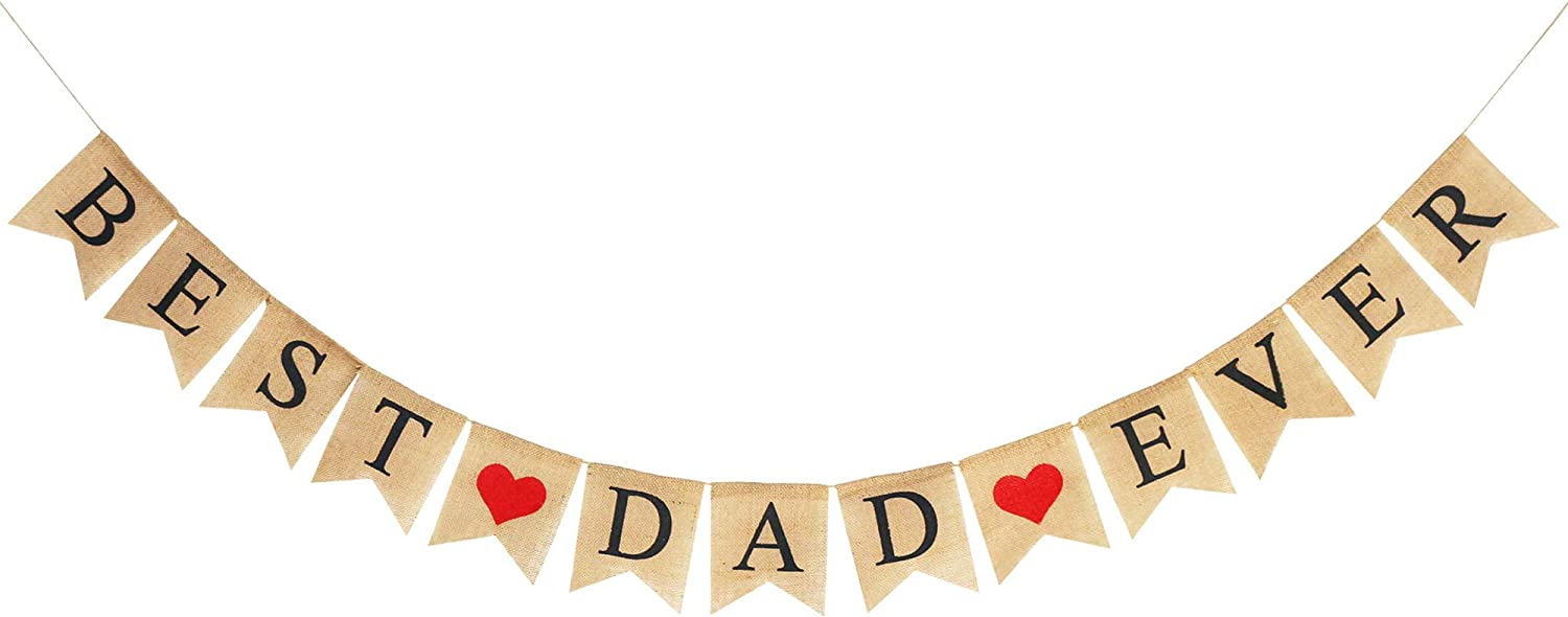 Burlap Best Dad Ever Banner | Rustic Fathers Day Decorations | Father's Day Party Supplies Celebration Gift