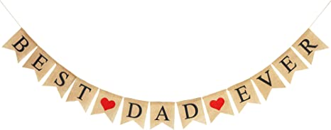 Happy Fathers Day Decor Decoration Gift Idea Partyprops Best Dad Ever Banner Garland with Gold Glitter Heart
