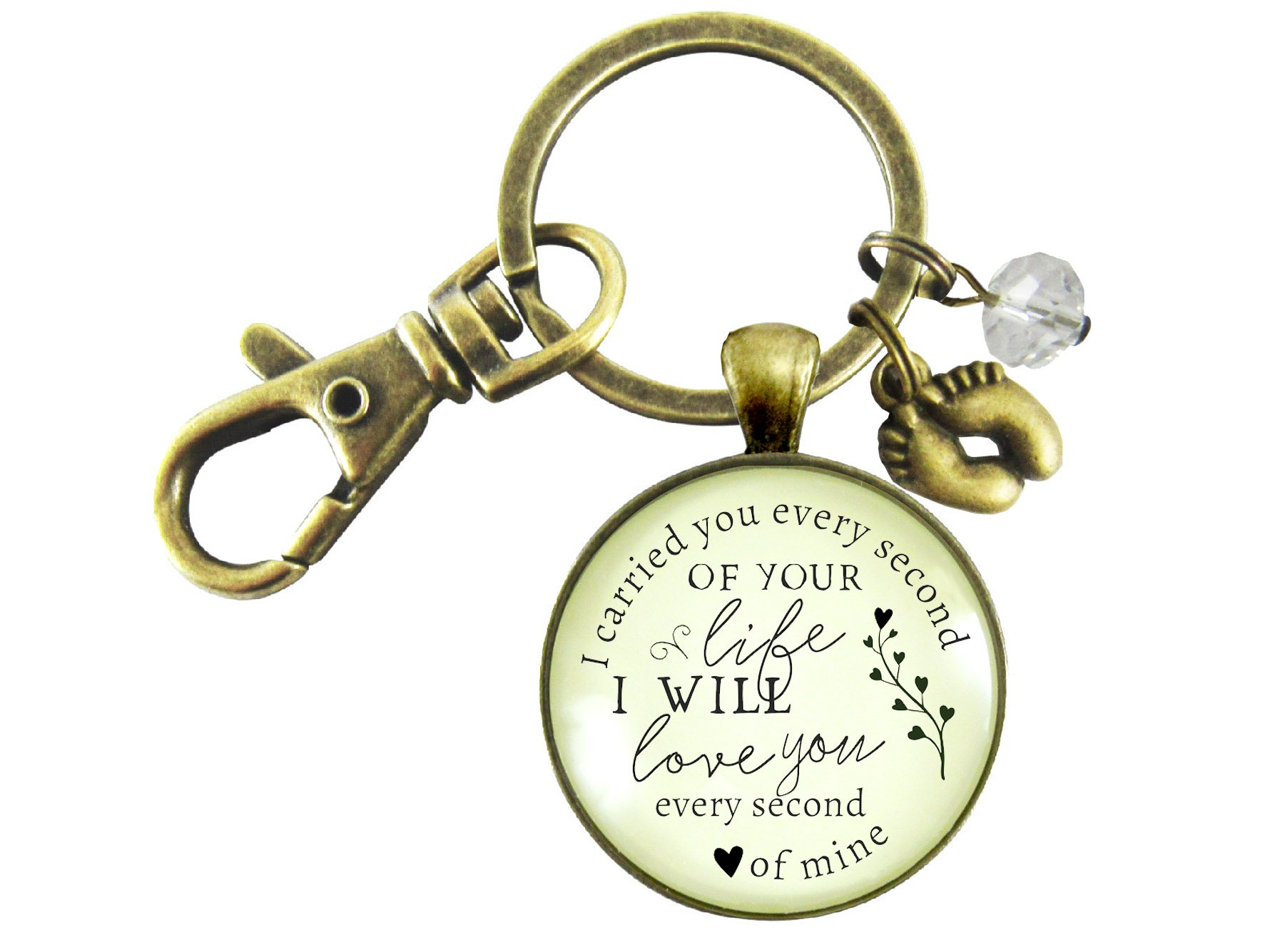 Miscarriage Keychain I Carried You Every Second of Your Life Baby Loss Remembrance Keepsake Bronze Pendant Feet Charm