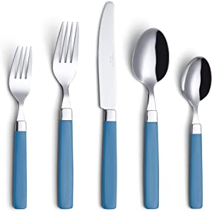 ANNOVA 20 Pieces Flatware Set - Premium Stainless Steel Cutlery - Color Handles - 4 x Dinner Forks, 4 x Salad Forks, 4 x Table Knives, 4 x Tablespoons, 4 x Teaspoons - Service for 4 (Blue, 20 Pieces)
