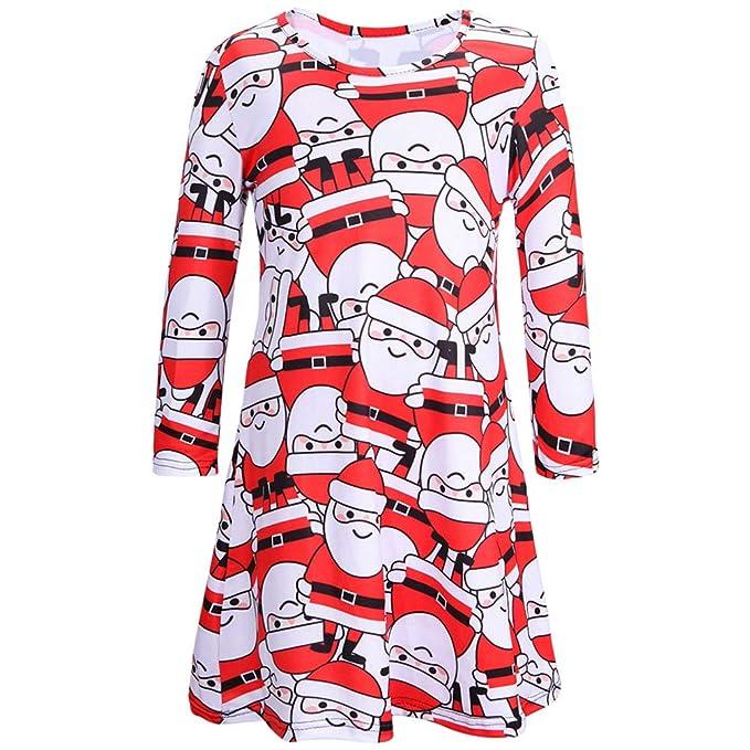 dd146a12935d Dooxii Madre e Figlia Maniche Lunghe Vestito da Natale Elegante Elementi di  Natale Stampato Mini Abiti  Amazon.it  Abbigliamento