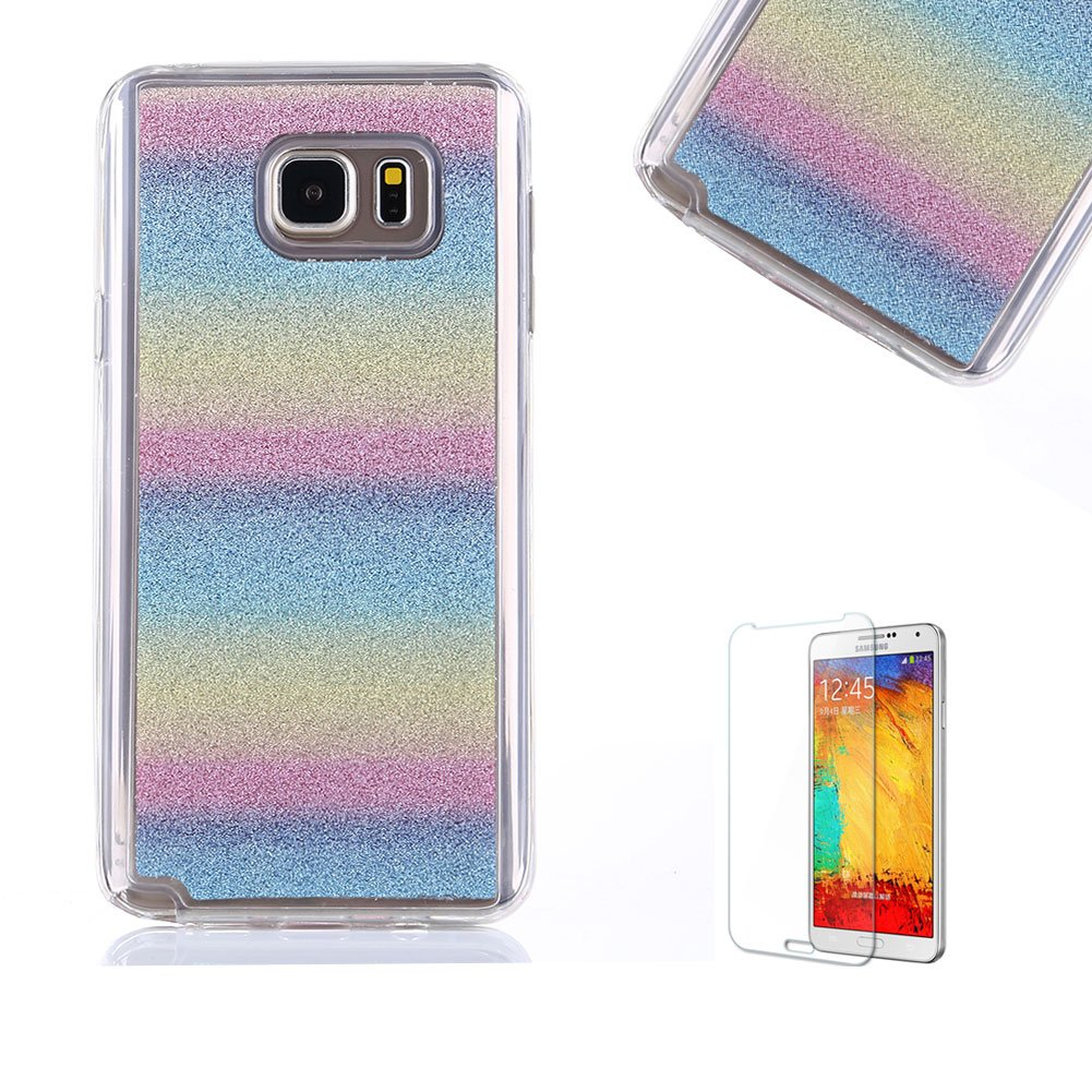 For Samsung Galaxy Note 5 Case [with Free Screen Protector].Funyye Soft Ultra Thin Gel Silicone TPU Shock Proof Durable Scratch Resistant Glitter With Love Hearts Ring Holder Protective Case Cover Skin Shell for Samsung Galaxy Note 5-Silver FUNYYE0016180