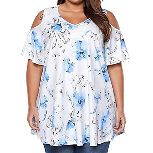 Womens Plus Size Tops, Floral Print Cold Shoulder T Shirt ANJUNIE Short Sleeve Blouse Blue at Amazon Womens Clothing store: