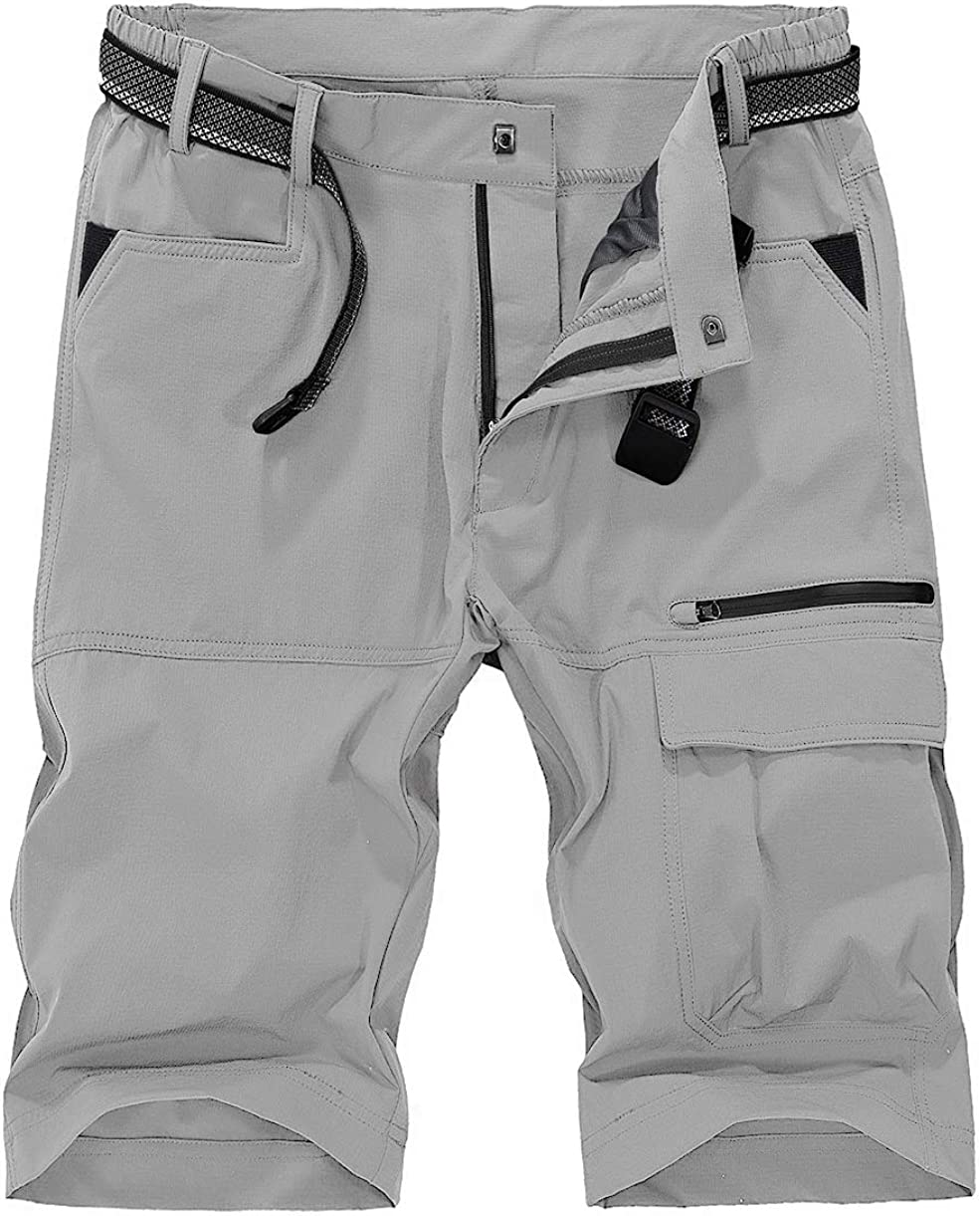 TBMPOY Men's Quick Dry Hiking Shorts Lightweight Cargo Shorts Zipper Pockets Outdoor Sports Casual