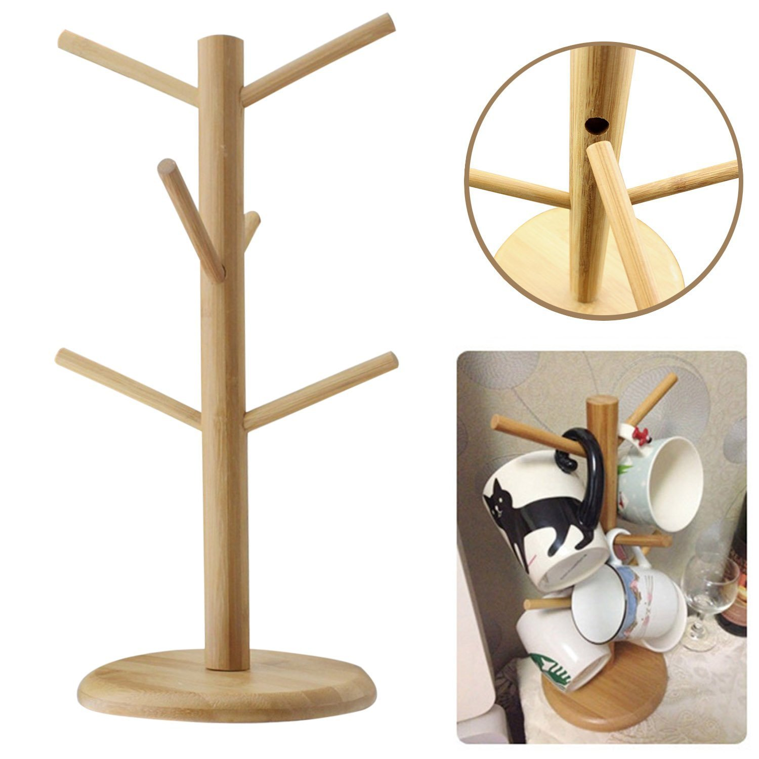 Amazon.com: EGOODBEST Wooden Mug Tree Coffee Tee Cup Holder Stand Rack With  6 Hooks: Home U0026 Kitchen